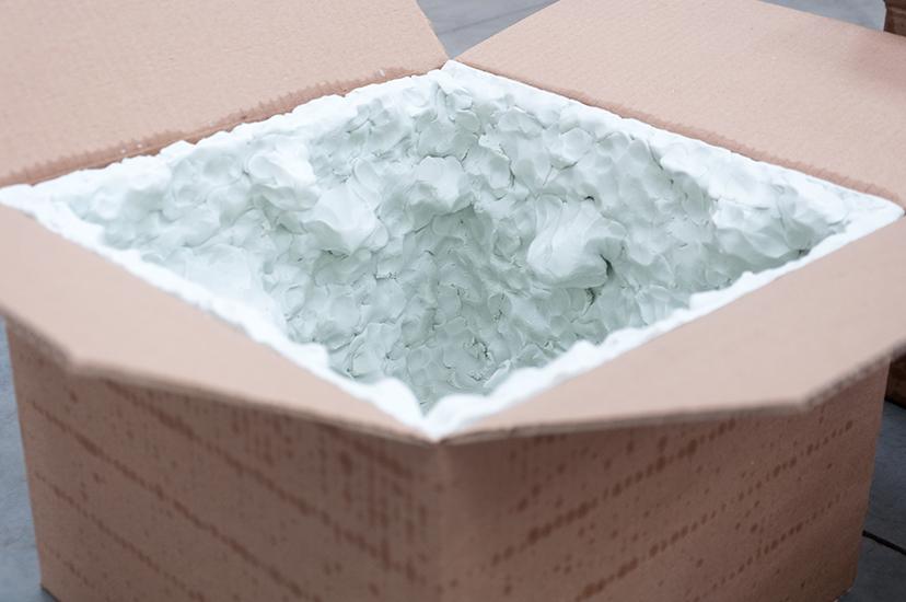 Marlon de Azambuja, Pensamientos húmedos, cajas de cartón y plastilina, 2015