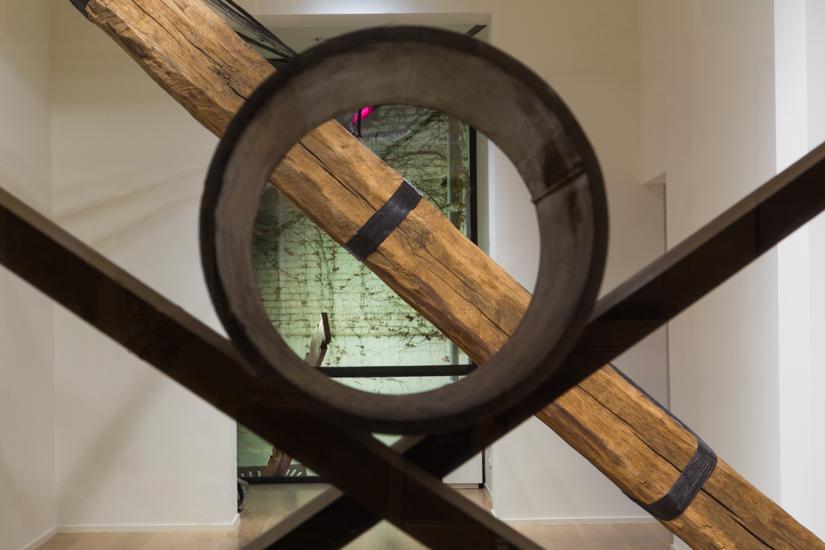 Objective, 2016, wood (wenge, Iroko), metal pipe, 240 x 240 cm