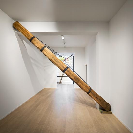 Diagonal, 2016, wood, steel wire, metal bar, scaffolding, 550 x 300 x 100 cm Photo: Renato Ghiazza