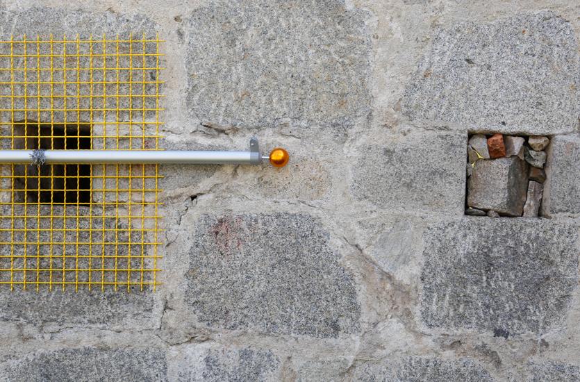 Encage, 2016, flag pole, metal mesh, metal wire, wood, 700 x 100 cm.