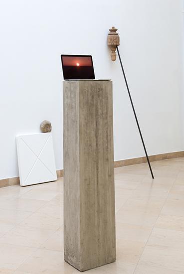 Andaluz, 2016, wood found object, steel bar, 250 x 30 x 85 cm. Andrea Galvani, Pablo Jansana