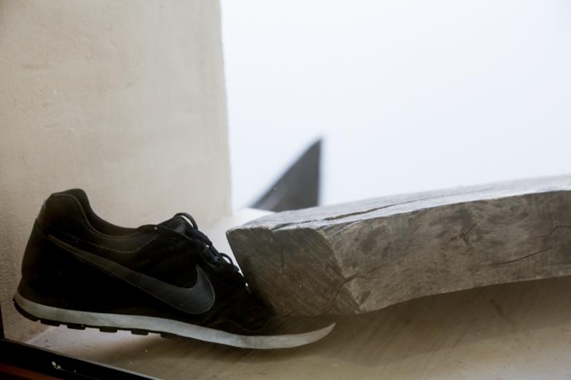 Santiago Reyes Villaveces, Nike 2016, wood and  Nike shoes. 200cm x 20cm x 30 cm