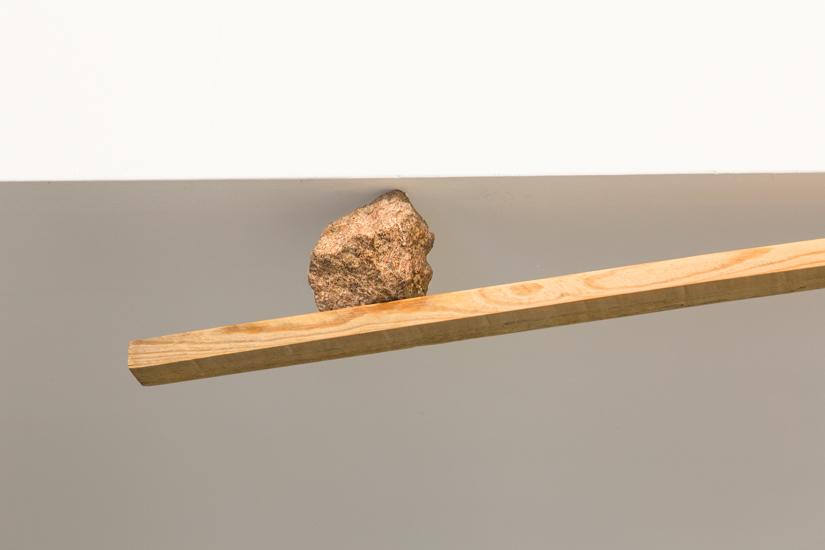 Holder, 2017 Aluminium, wood and rock (Porfido) Ed. 1/2+AP 242 x 115 x 10 cm